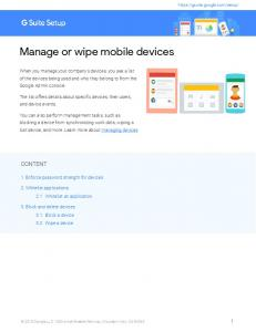 Manage or wipe mobile devices - G Suite