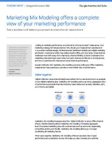 Marketing Mix Modeling offers a complete view of ...  Services