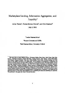 Marketplace Lending, Information Aggregation, and ...