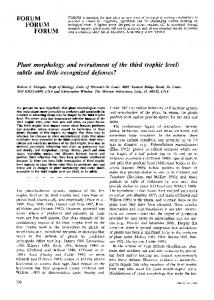 Marquis & Whelan_Plant Morphology and Recruitment of the Third ...
