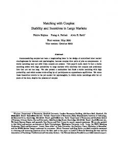 Matching with Couples: Stability and Incentives in ...