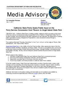 Media Advisory - California State Parks