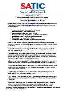 media release - South Australian Tourism Industry Council