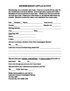 membership application - Lawrence County Ohio Genealogical Society