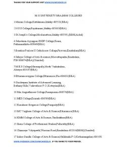 M.G.UNIVERSITY BBA,BBM COLLEGES 1.Marian College ...