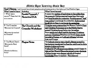 Middle Ages Learning Goals Key
