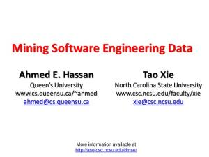 Mining Software Engineering Data