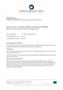 Minutes for the HMPC meeting on 20-21 November 2017 - European ...