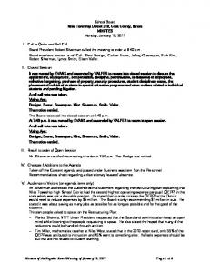 Minutes of the Regular Board Meeting of January 10, 2011 Page 1 of 6 ...