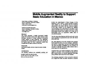 Mobile Augmented Reality to support basic education ... - Pedro Santana