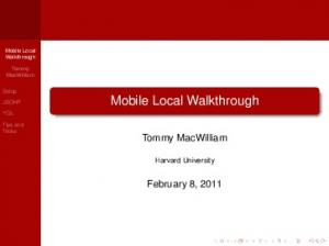 Mobile Local Walkthrough