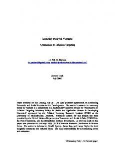 Monetary Policy in Vietnam: Alternatives to Inflation Targeting