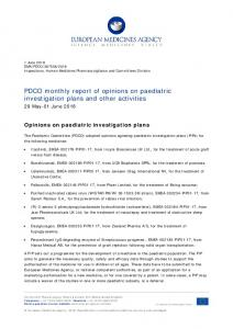 Monthly report PDCO 29 May-01 June 2018 - European Medicines ...
