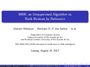 MRR: an Unsupervised Algorithm to Rank Reviews by ... - GitHub