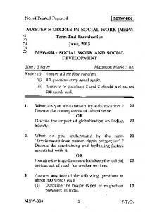 MSW-004 No. of Printed Pages : 4 MASTER'S DEGREE IN SOCIAL ...