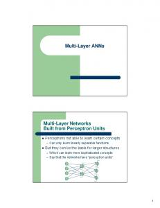 Multi-Layer ANNs Multi-Layer Networks Built from ...