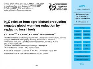 N2O release from fertilizer use in biofuel production