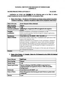 National Institute For Research in Tuberculosis Recruitment For 07 ...
