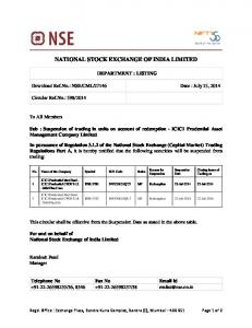 national stock exchange of india limited - NSE