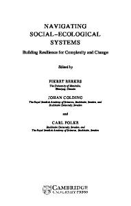 Navigating Social-Ecological Systems - Building Resilience for ...