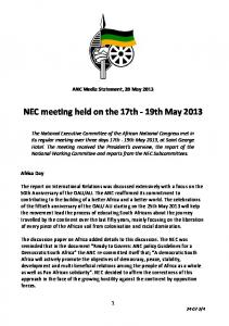 NEC meeting held on the 17th - 19th May 2013 - CU Ten-Part Study ...
