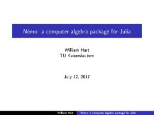 Nemo: a computer algebra package for Julia - GitHub