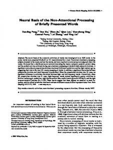 Neural basis of the non-attentional processing ... - Wiley Online Library