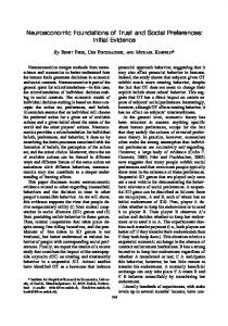 Neuroeconomic Foundations of Trust and Social Preferences: Initial ...