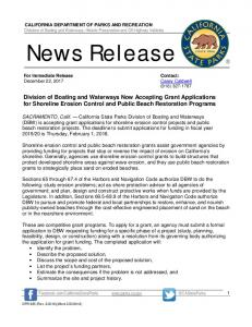 News Release - Division of Boating and Waterways