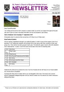 NEWSLETTER - St Peter's Church of England Middle School, Old ...