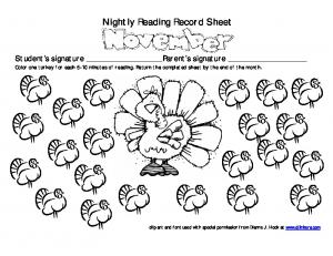 Nightly Reading Record Sheet - Dr. Jean