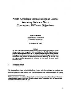 North American versus European Global Warming ... - Ross McKitrick