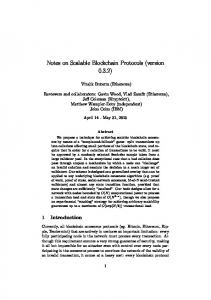 Notes on Scalable Blockchain Protocols - Semantic Scholar