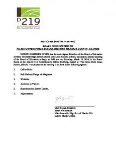 notice of special meeting board of education of niles ...