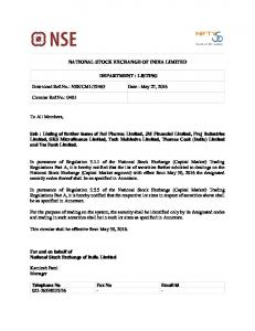 NSE/CML/32463 Date : May 27, 2016 Circular Ref.N