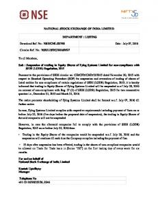 NSE/CML/32748 Date : July 07, 2016 Circular Ref