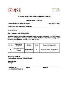 NSE/CML/32793 Date : July 12, 2016 Circular Ref