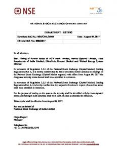 NSE/CML/35545 Date : August 07, 2017 Circular R