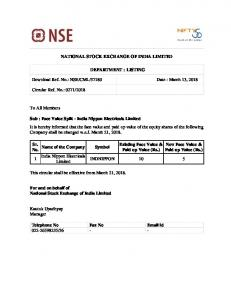 NSE/CML/37180 Date : March 13, 2018 Circular Re