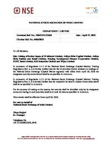 NSE/CML/37655 Date : April 27, 2018 Circular Re