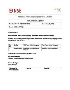 NSE/CML/ 37703 Date : May 07, 2018 Circular Ref