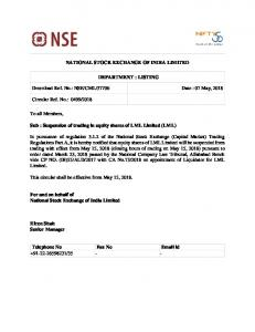 NSE/CML/37706 Date : 07 May, 2018 Circular Ref.