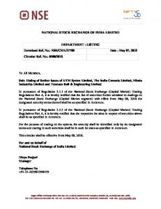 NSE/CML/37708 Date : May 07, 2018 Circular Ref.