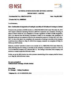 NSE/CML/37723 Date : May 09, 2018 Circular Ref.