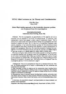 NTNU Mini Lectures on Lie Theory and Combinatorics