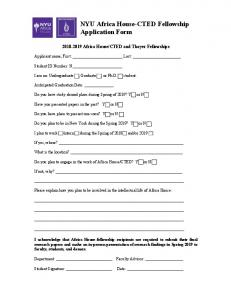 NYU Africa House-CTED Fellowship Application Form