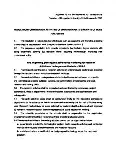 o_3Regulation for Research Activities of Undergraduate Students of ...