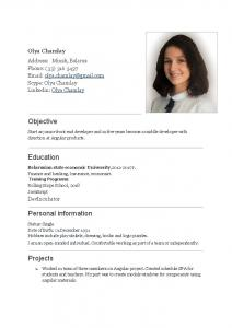 Objective Education Personal information Projects