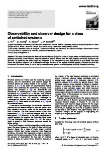 Observability and observer design for a class of ... - IEEE Xplore