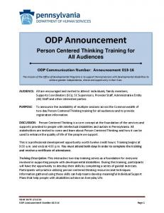ODP Announcement - PA Disability News